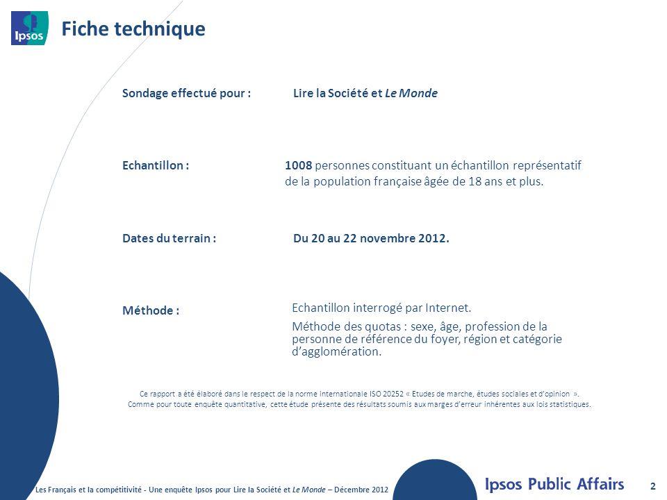 Fiche technique Sondage effectué pour : Lire la Société et Le Monde
