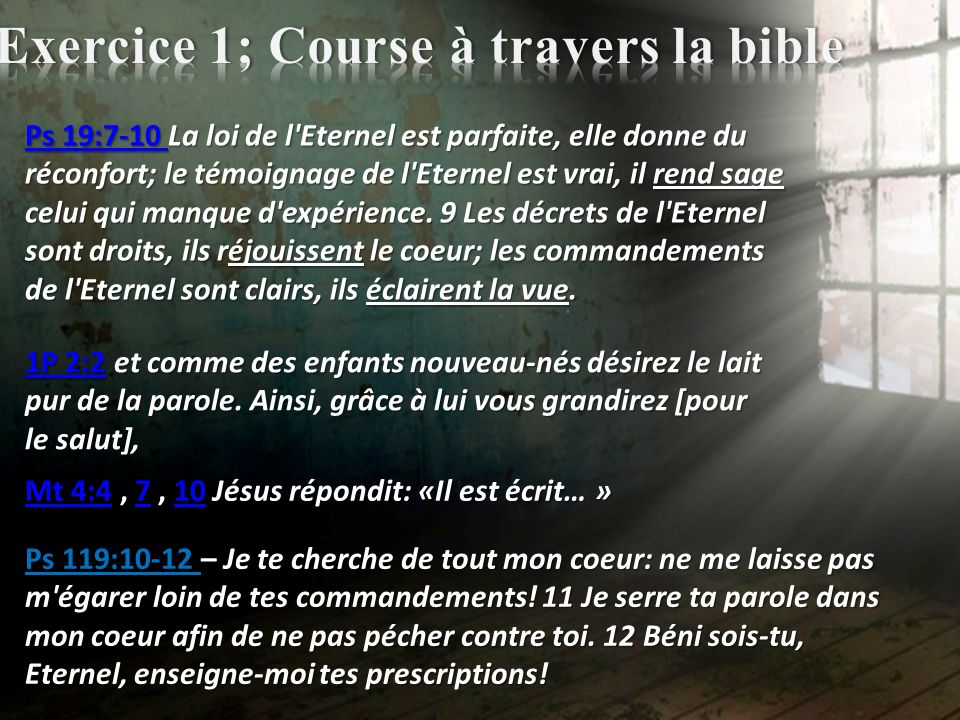 Exercice 1; Course à travers la bible