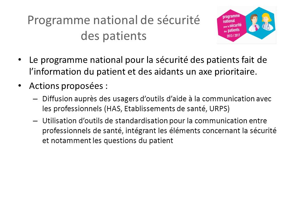Programme national de sécurité des patients