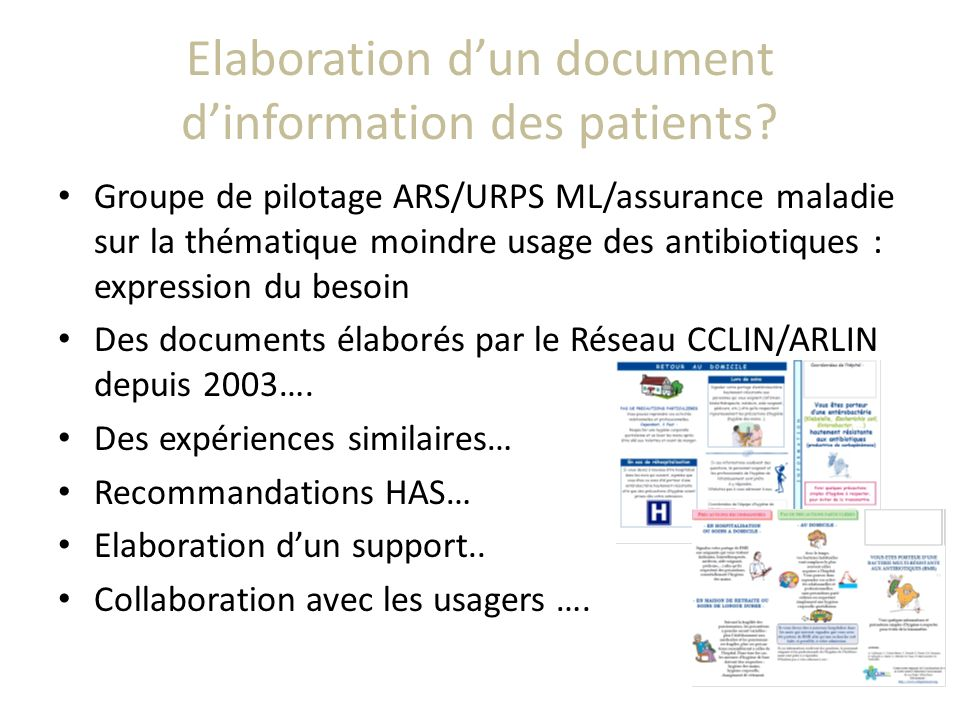 Elaboration d'un document d'information des patients
