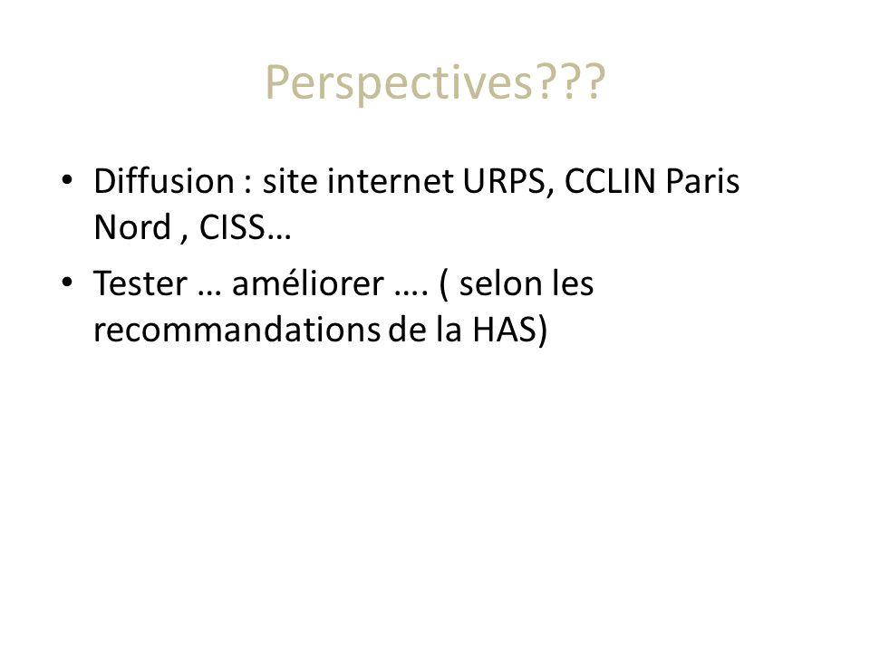 Perspectives . Diffusion : site internet URPS, CCLIN Paris Nord , CISS… Tester … améliorer ….