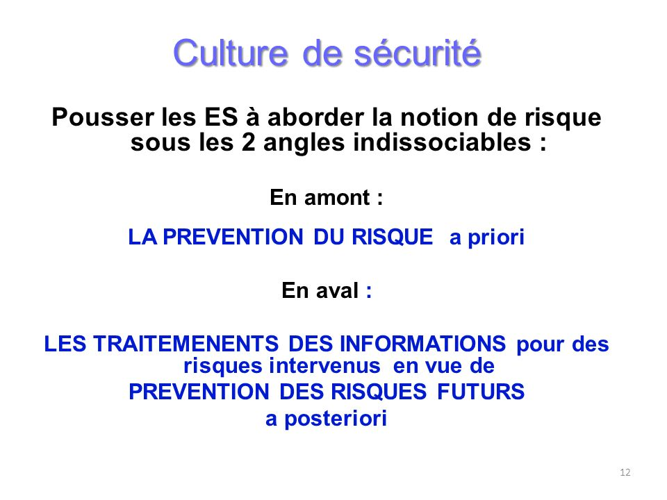 LA PREVENTION DU RISQUE a priori PREVENTION DES RISQUES FUTURS