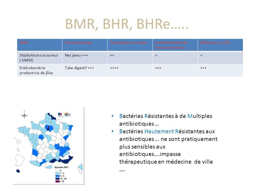 BMR, BHR, BHRe….. Bactéries Résistantes à de Multiples antibiotiques …