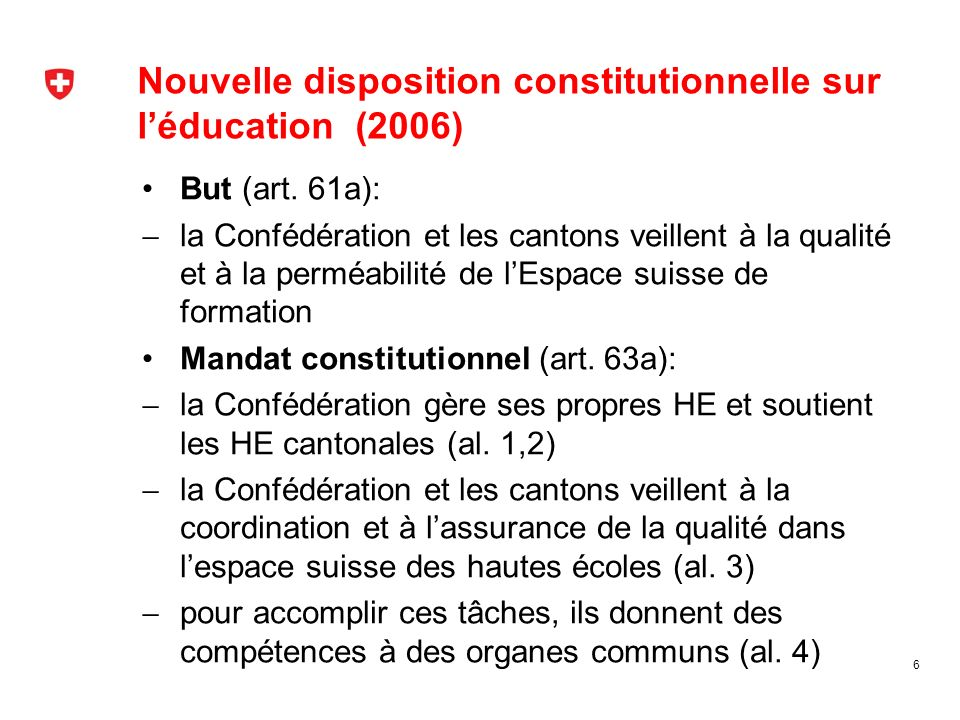 Nouvelle disposition constitutionnelle sur l'éducation (2006)