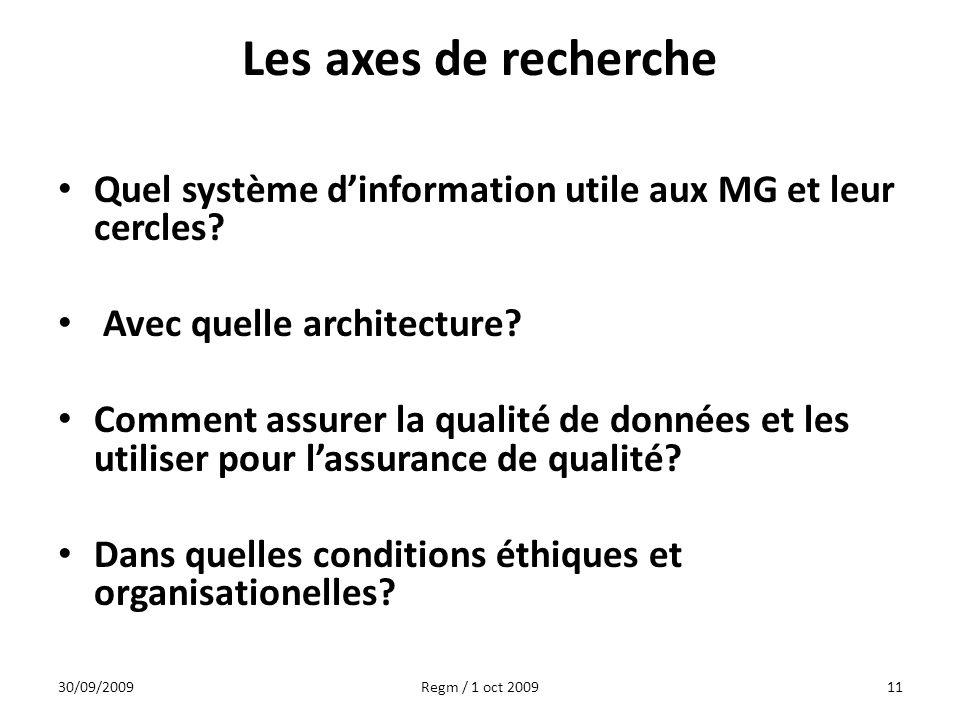 Les axes de recherche Quel système d'information utile aux MG et leur cercles Avec quelle architecture
