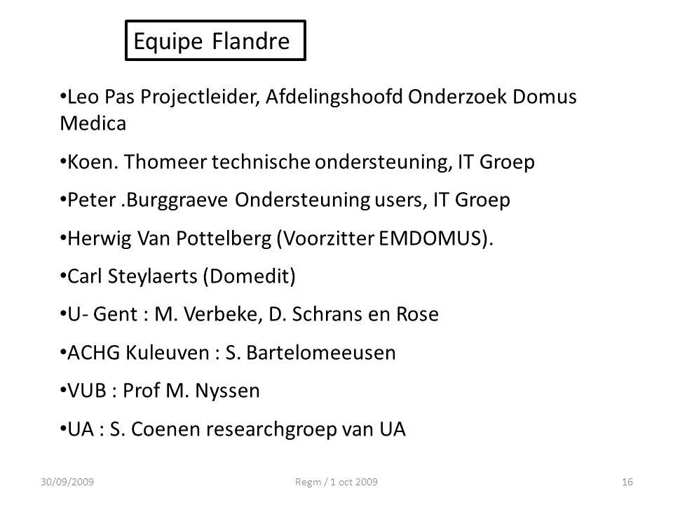 Equipe Flandre Leo Pas Projectleider, Afdelingshoofd Onderzoek Domus Medica. Koen. Thomeer technische ondersteuning, IT Groep.