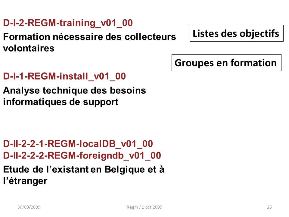 Listes des objectifs Groupes en formation D-I-2-REGM-training_v01_00