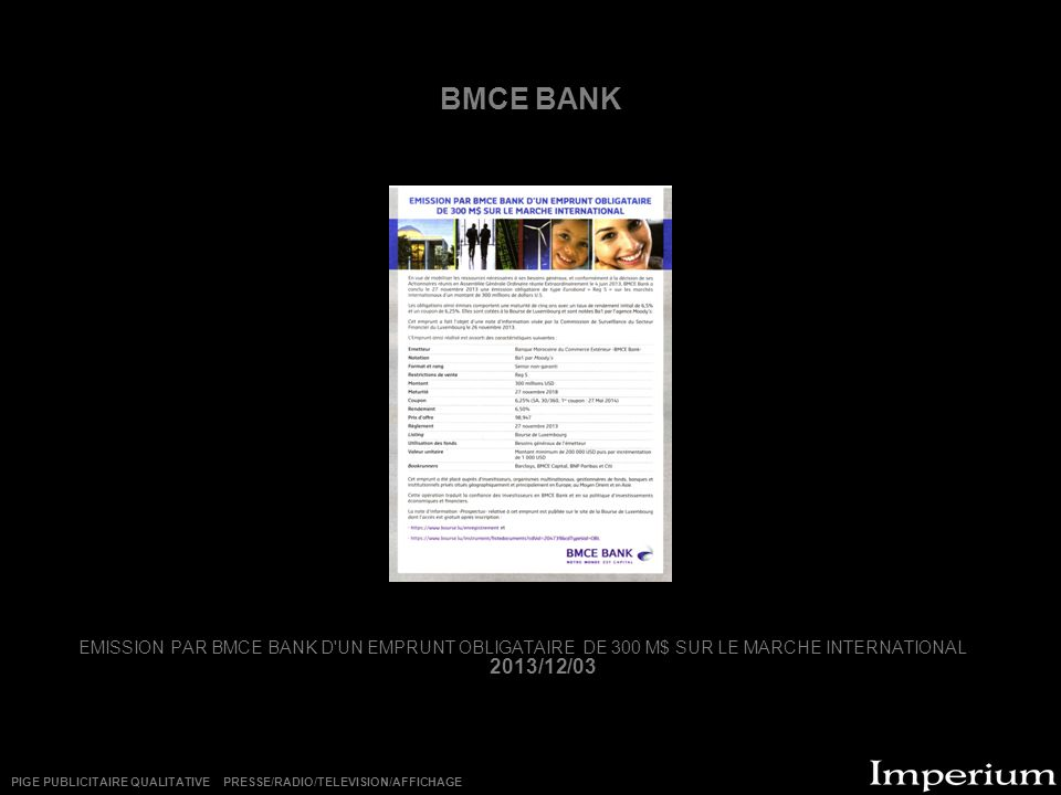BMCE BANK EMISSION PAR BMCE BANK D UN EMPRUNT OBLIGATAIRE DE 300 M$ SUR LE MARCHE INTERNATIONAL 2013/12/03.