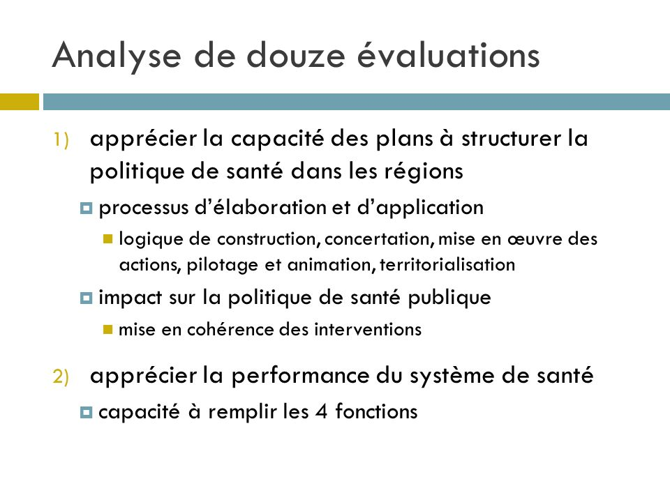 Analyse de douze évaluations