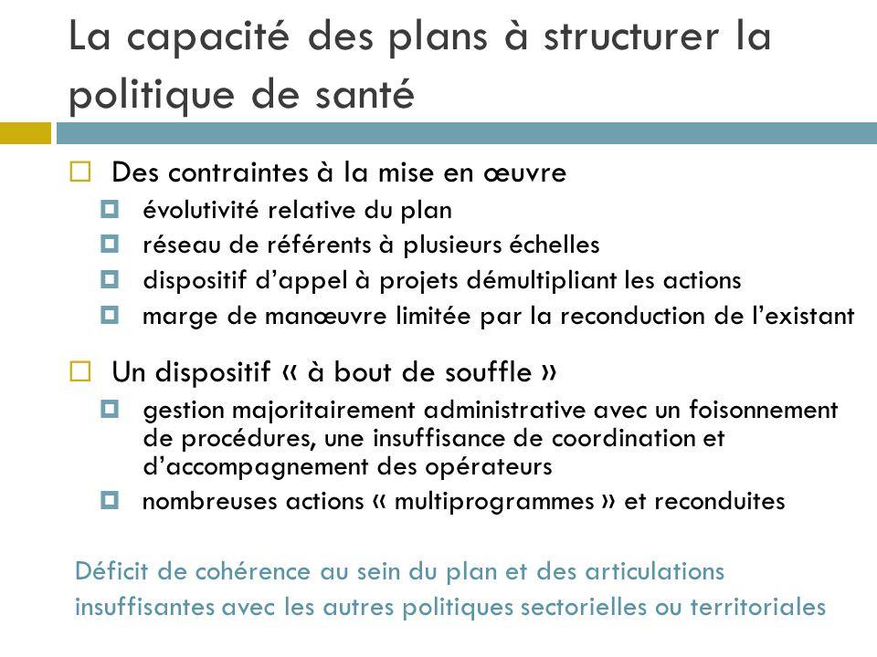 La capacité des plans à structurer la politique de santé