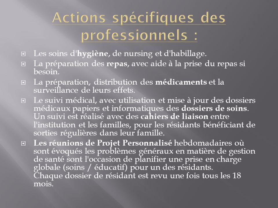 Actions spécifiques des professionnels :