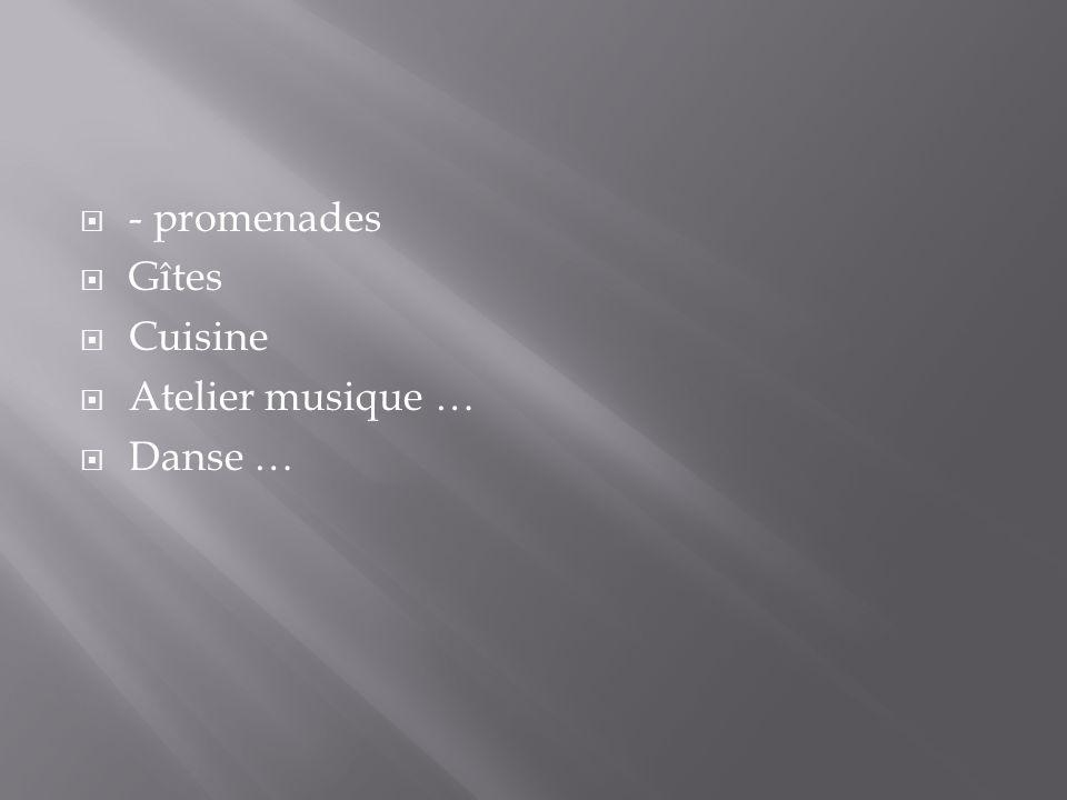 - promenades Gîtes Cuisine Atelier musique … Danse …