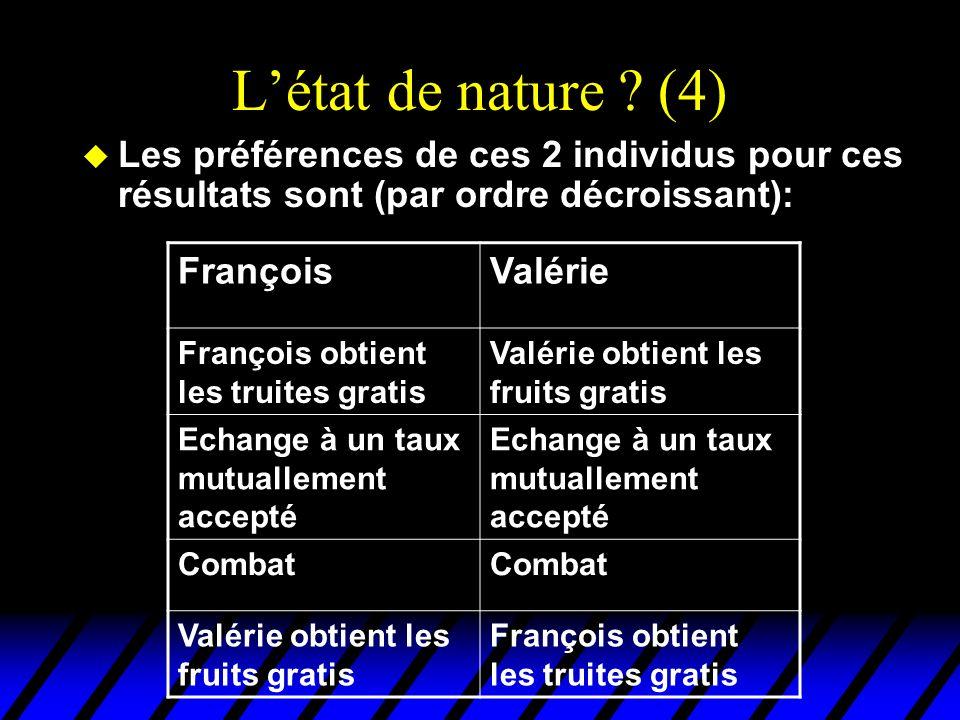 L'état de nature (4) Les préférences de ces 2 individus pour ces résultats sont (par ordre décroissant):