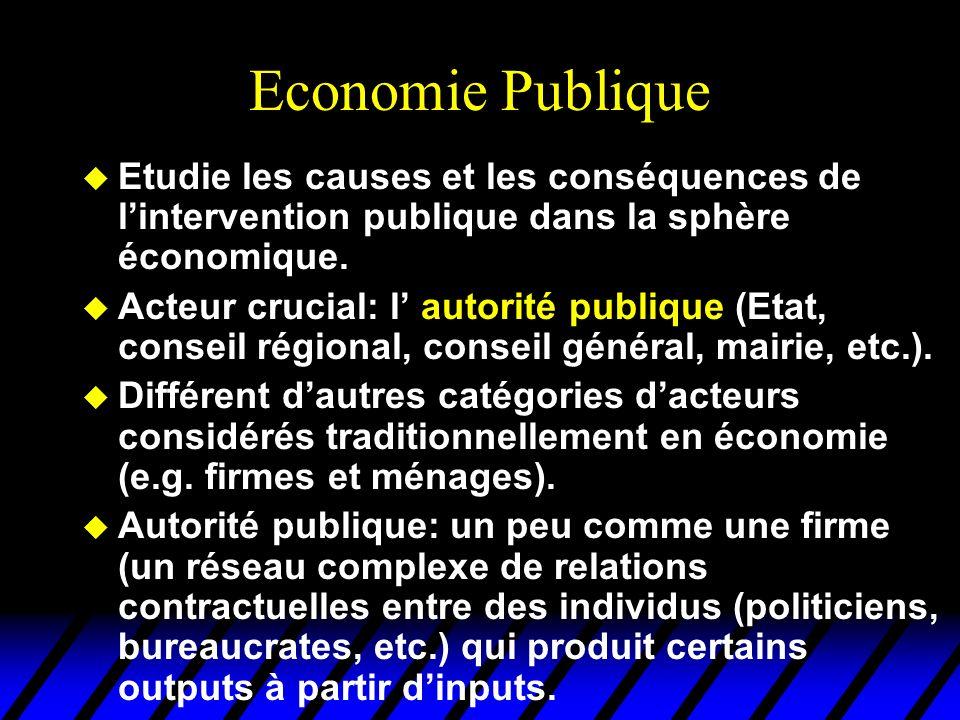 Economie Publique Etudie les causes et les conséquences de l'intervention publique dans la sphère économique.