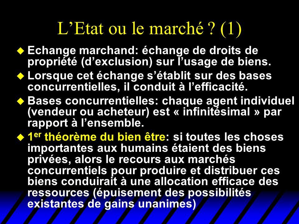 L'Etat ou le marché (1) Echange marchand: échange de droits de propriété (d'exclusion) sur l'usage de biens.