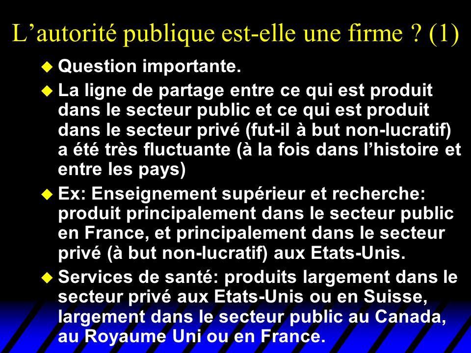 L'autorité publique est-elle une firme (1)