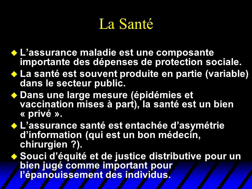 La Santé L'assurance maladie est une composante importante des dépenses de protection sociale.