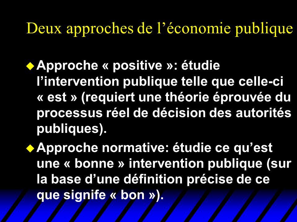 Deux approches de l'économie publique