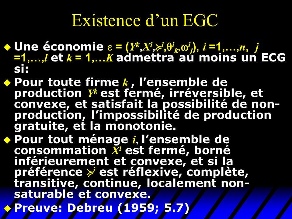 Existence d'un EGC Une économie  = (Yk,Xi,i,ik,ij), i =1,…,n, j =1,…,l et k = 1,…K admettra au moins un ECG si: