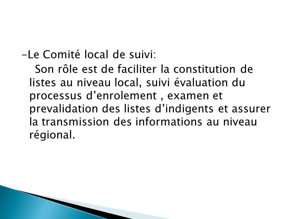 -Le Comité local de suivi: Son rôle est de faciliter la constitution de listes au niveau local, suivi évaluation du processus d'enrolement , examen et prevalidation des listes d'indigents et assurer la transmission des informations au niveau régional.