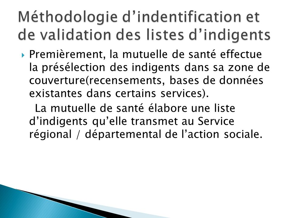 Méthodologie d'indentification et de validation des listes d'indigents