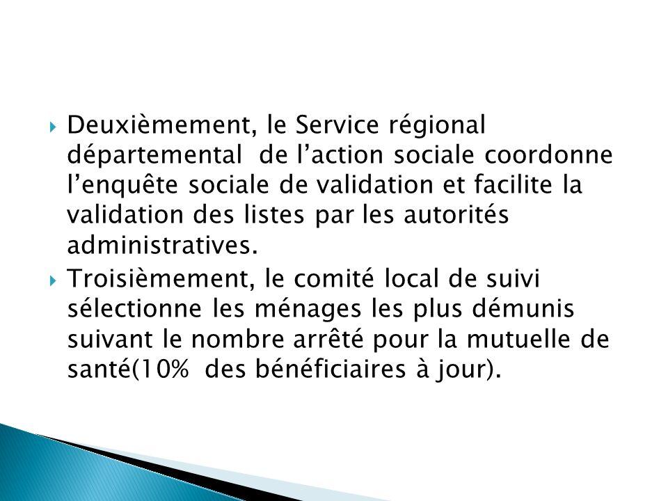 Deuxièmement, le Service régional départemental de l'action sociale coordonne l'enquête sociale de validation et facilite la validation des listes par les autorités administratives.