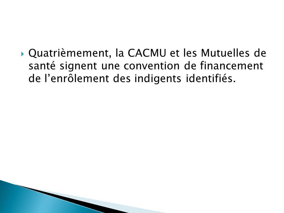 Quatrièmement, la CACMU et les Mutuelles de santé signent une convention de financement de l'enrôlement des indigents identifiés.