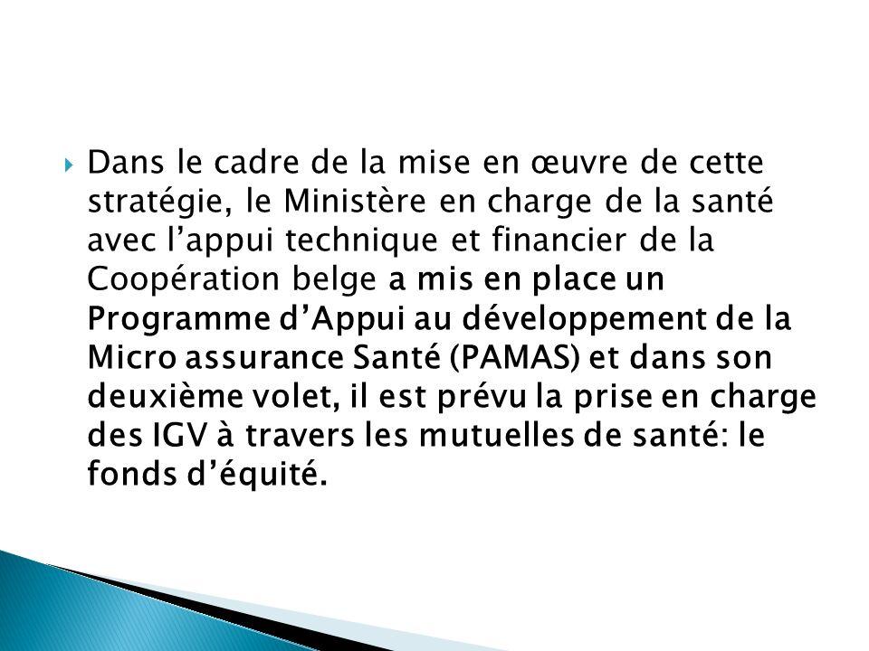 Dans le cadre de la mise en œuvre de cette stratégie, le Ministère en charge de la santé avec l'appui technique et financier de la Coopération belge a mis en place un Programme d'Appui au développement de la Micro assurance Santé (PAMAS) et dans son deuxième volet, il est prévu la prise en charge des IGV à travers les mutuelles de santé: le fonds d'équité.