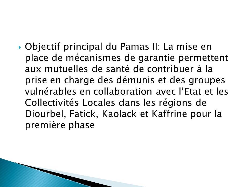 Objectif principal du Pamas II: La mise en place de mécanismes de garantie permettent aux mutuelles de santé de contribuer à la prise en charge des démunis et des groupes vulnérables en collaboration avec l'Etat et les Collectivités Locales dans les régions de Diourbel, Fatick, Kaolack et Kaffrine pour la première phase