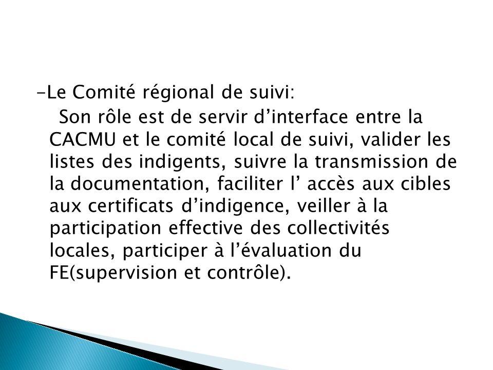 -Le Comité régional de suivi: Son rôle est de servir d'interface entre la CACMU et le comité local de suivi, valider les listes des indigents, suivre la transmission de la documentation, faciliter l' accès aux cibles aux certificats d'indigence, veiller à la participation effective des collectivités locales, participer à l'évaluation du FE(supervision et contrôle).