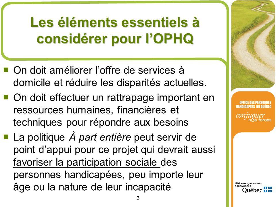 Les éléments essentiels à considérer pour l'OPHQ