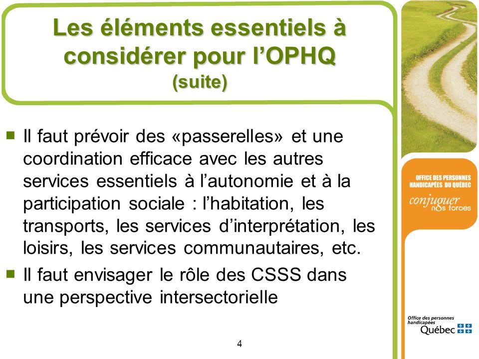 Les éléments essentiels à considérer pour l'OPHQ (suite)