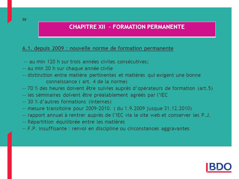 CHAPITRE XII – FORMATION PERMANENTE