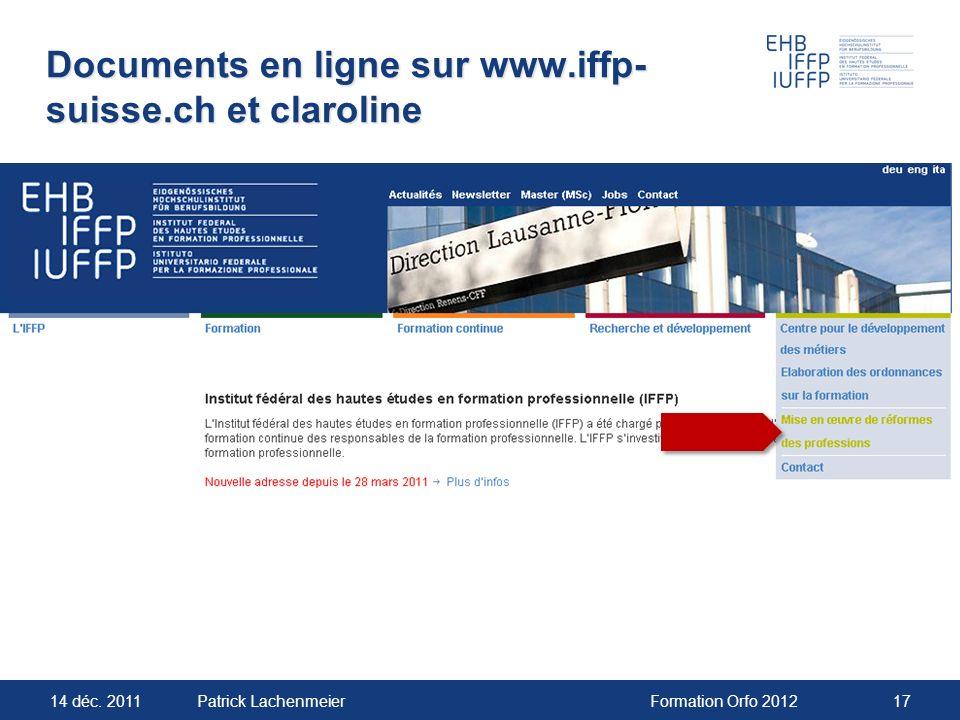 Documents en ligne sur www.iffp-suisse.ch et claroline
