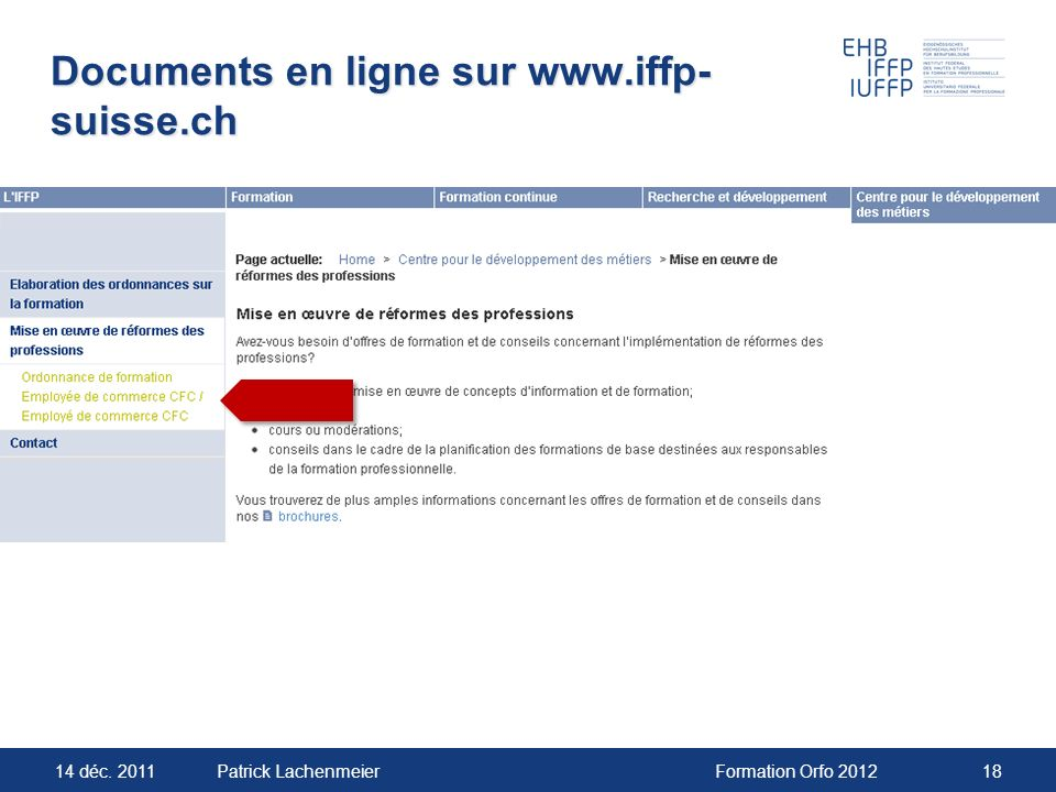 Documents en ligne sur www.iffp-suisse.ch