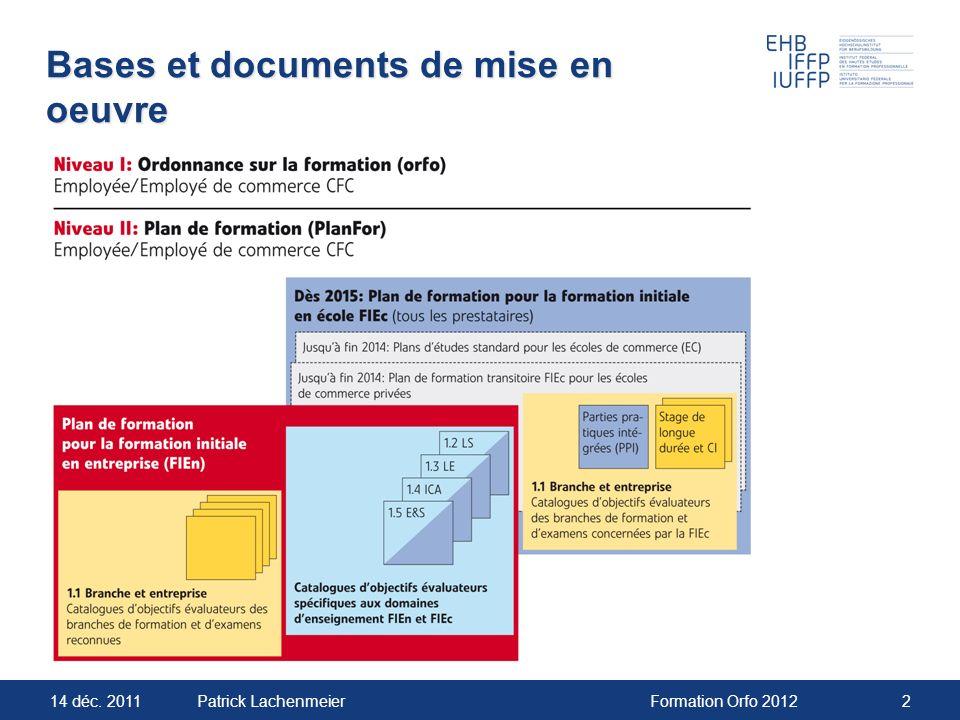 Bases et documents de mise en oeuvre