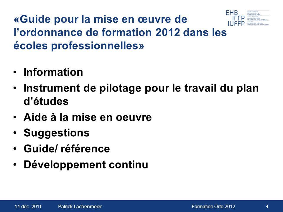 «Guide pour la mise en œuvre de l'ordonnance de formation 2012 dans les écoles professionnelles»