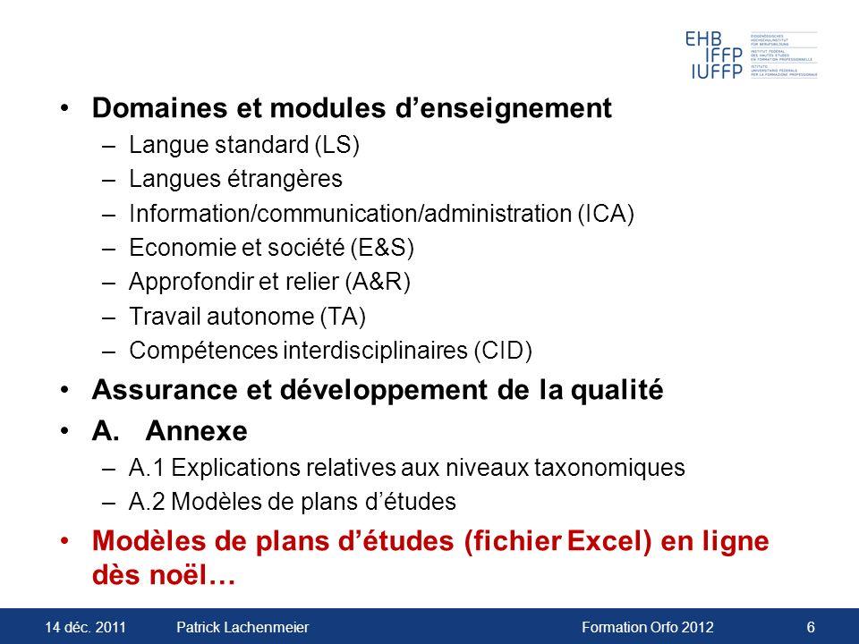 Domaines et modules d'enseignement