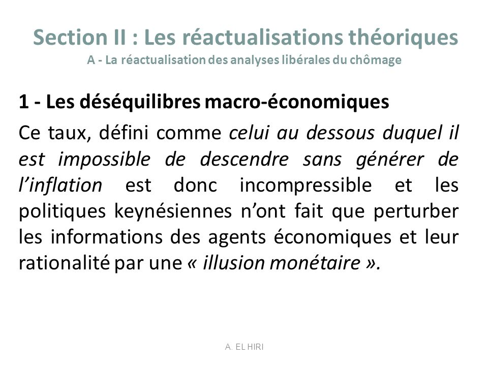 Section II : Les réactualisations théoriques A - La réactualisation des analyses libérales du chômage
