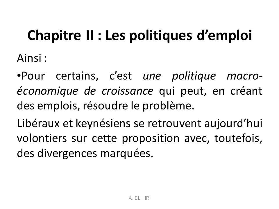 Chapitre II : Les politiques d'emploi