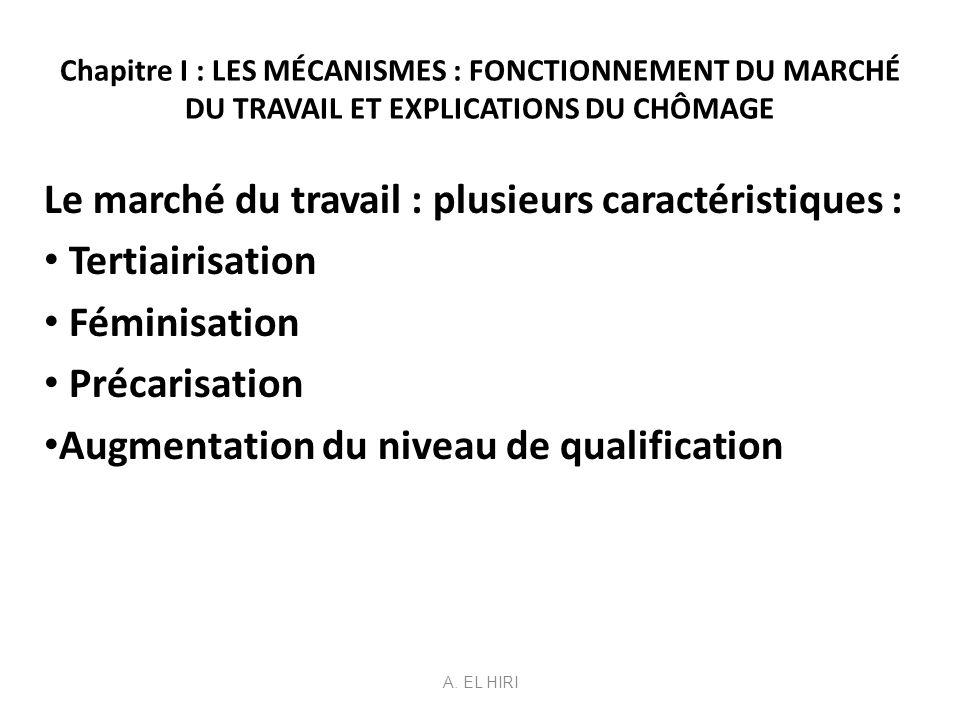 Le marché du travail : plusieurs caractéristiques : Tertiairisation