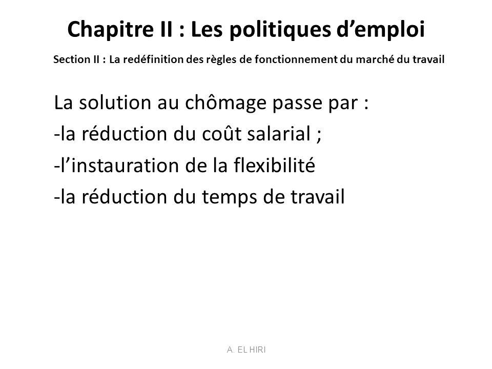 Chapitre II : Les politiques d'emploi Section II : La redéfinition des règles de fonctionnement du marché du travail