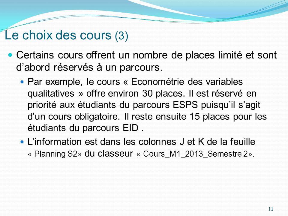 Le choix des cours (3) Certains cours offrent un nombre de places limité et sont d'abord réservés à un parcours.