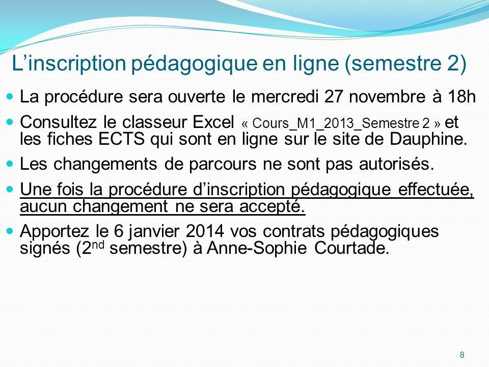 L'inscription pédagogique en ligne (semestre 2)