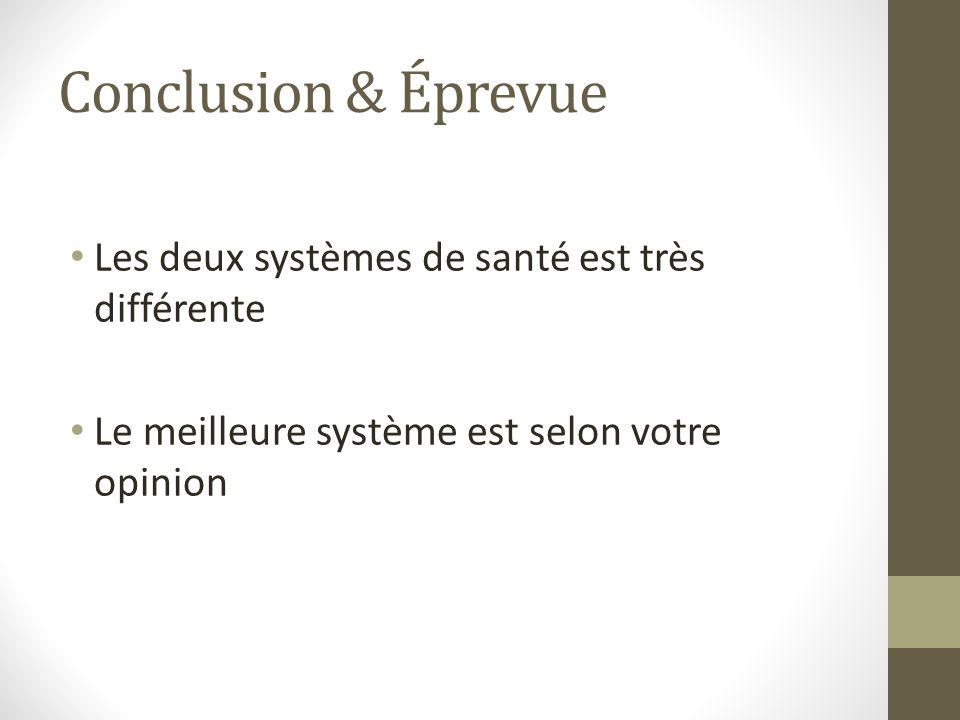Conclusion & Éprevue Les deux systèmes de santé est très différente