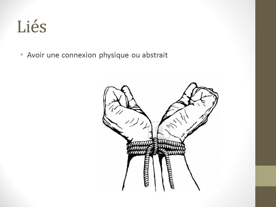 Liés Avoir une connexion physique ou abstrait