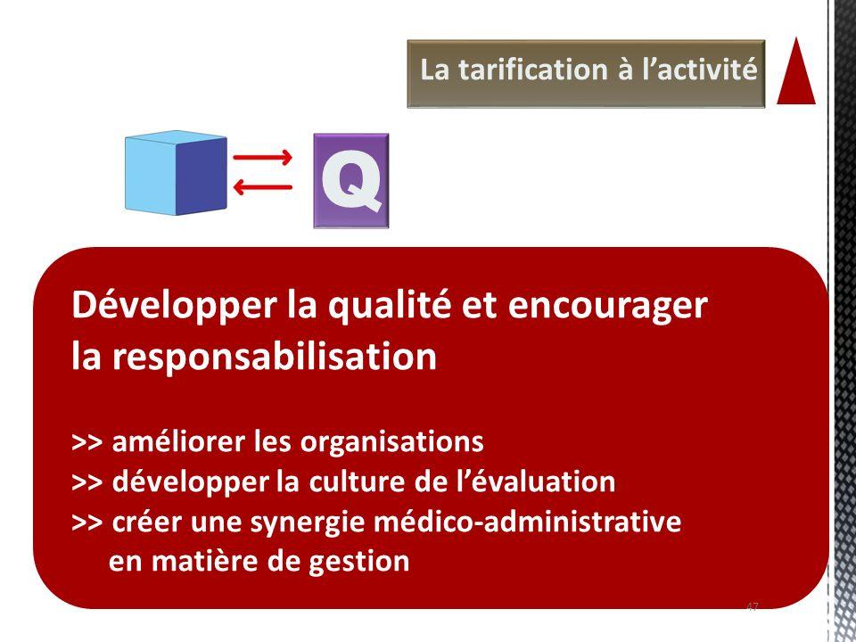 Q Développer la qualité et encourager la responsabilisation