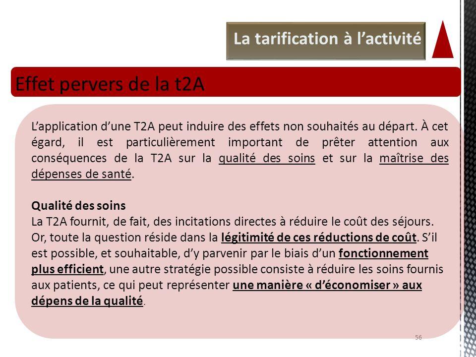 Effet pervers de la t2A La tarification à l'activité