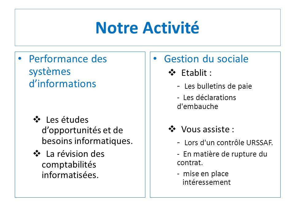 Notre Activité Performance des systèmes d'informations