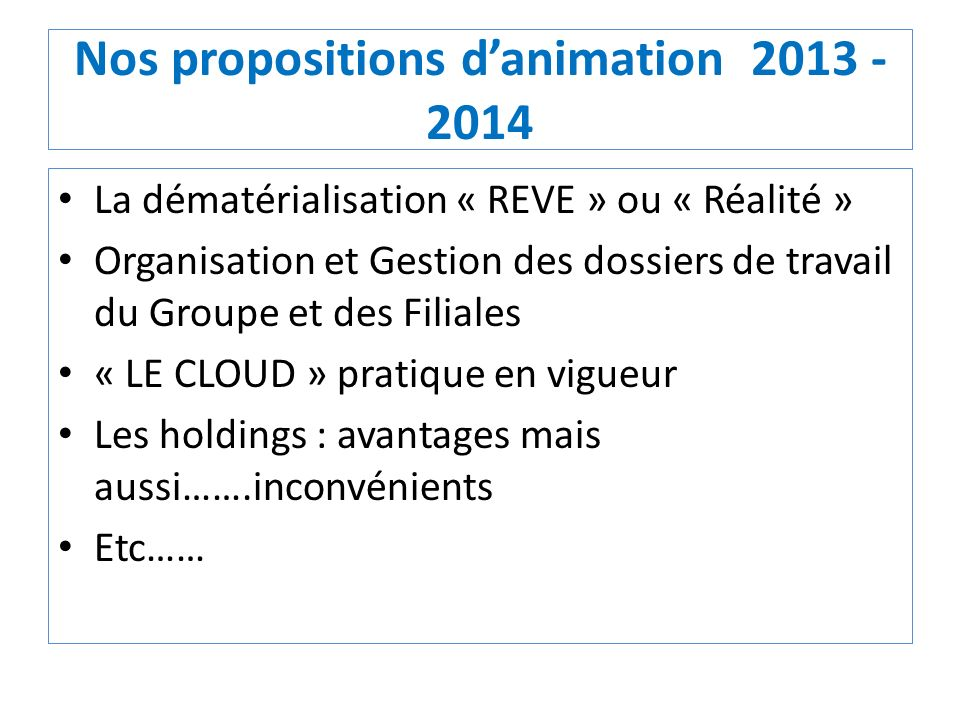 Nos propositions d'animation 2013 - 2014